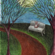 Cat in night park, landscape with trees, bench, path, full moon, drawn with colored pencils — Stock Photo #52724767