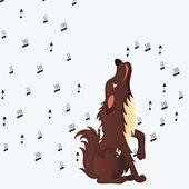 Roztomilý nadýchané kreslený psí vytí — Stock vektor