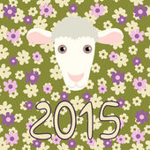 Retro card with cartoon sheep and flowers for Christmas and New Year 2015 — Stock Vector