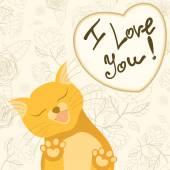 入札の猫はなめる画面でかわいいロマンチックなカード — ストックベクタ
