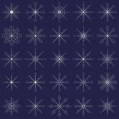 Fiocchi di neve ornato eleganza impostato per design inverno natale — Vettoriale Stock