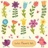 Cute hand drawn flowers set — Vector de stock