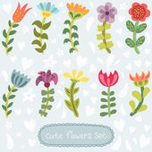 Cute hand drawn flowers set — Stock Vector