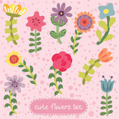 Original vintage hand drawn flowers set — Stock Vector