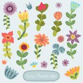 Cute vintage hand drawn flowers set — Stock Vector