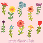 Cute vintage hand drawn flowers set — Vector de stock