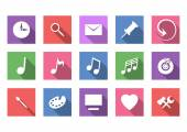 Art and musical flat icon set — Stock vektor
