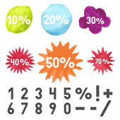 Watercolor stains, starburst and boom sign — Stock vektor