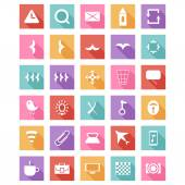 Flat icon set, vector collection with long shadow — Stock vektor