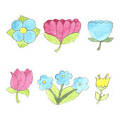 Watercolor flowers set, cute design elements collection — Stock Vector
