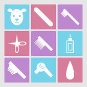 Dog grooming icons set or pet hair salon — Stock Vector