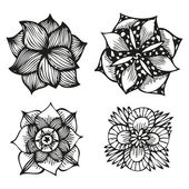 Floral doodling flowers set in tattoo style — Stock vektor