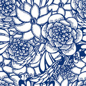Floral hand drawn seamless pattern in tattoo style with flowers — Stock Vector