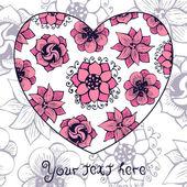 Çiçek kalp şeklinde romantik tebrik kartı — Stok Vektör