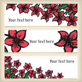 Set of horizontal banners with doodling flowers like narcissus in tattoo style — Stock Vector