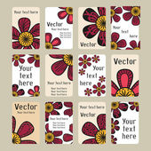 Business cards with doodling flowers — Stockvector