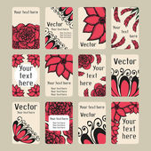 Set of business cards with doodling flowers — Stock Vector