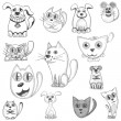 Hand drawn cats, dogs and mouse set — Stock Vector #72531117