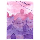 Watercolor night town — Stock Vector