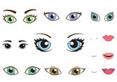 Set of different human eyes, eyebrows, noses and lips — Stock Vector