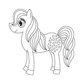 Cute pony, coloring book page — Stock Vector