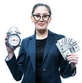 Girl with an alarm and money — Stock Photo