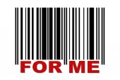 Barcode with label FOR ME — Stock Vector
