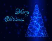 Glow Blue Christmas Tree — Stock Vector