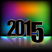 New year card 2015 with rainbow background — Stock Photo