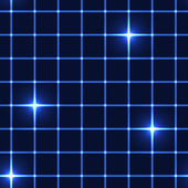 Blue net or grid with shinning stars - seamless background — Stock Vector