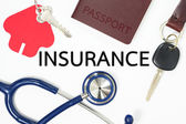 Insurance concept with many types of insurance — Stock Photo