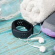 Fitness set with running shoes and heart rate monitor — Stock Photo #75982567