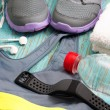 Workout set with sport clothing and heart rate monitor — Stock Photo #76102055