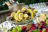 Oysters on ice at buffet table, catering — Stock Photo