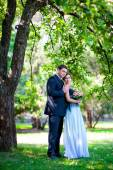 Novia y el novio parque al aire libre bajo los árboles — Foto de Stock
