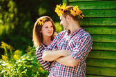 Couple in love playing romantic game — Stock Photo