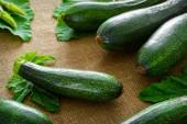 Fresh organic zucchini on fabric background — 图库照片