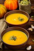 Pumpkin soup on rustic wooden table, selective focus — Stock Photo