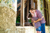 Young kissing happy couple in love — Stock Photo