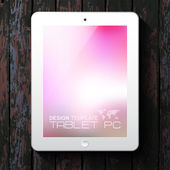 White tablet PC with blurred background — Stock Vector