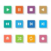 Set of 12 Media Buttons. — Stock Vector