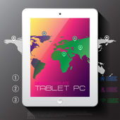White tablet PC with map — Stock Vector