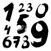 Black handwritten numbers — Stock Vector