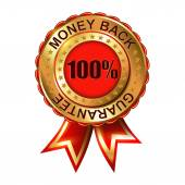 Money Back Guarantee golden label with ribbon. — Stock Vector