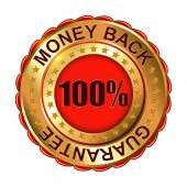 Money Back Guarantee golden label — Stock Vector