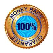 Záruka vrácení peněz zlatý štítek s mašlí. — Stock vektor