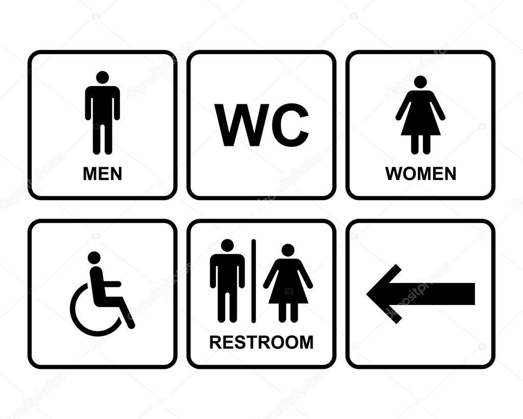 Conjunto de iconos de símbolo baños masculino y femenino — Vector de stock ©  -> Banheiro Feminino Vetor Free