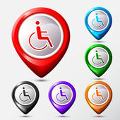 Set of Map Location disabled icon sign. — Vector de stock