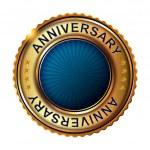 Empty anniversary golden label. — Stock Vector #59476683