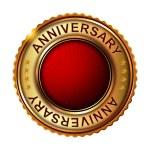 Empty anniversary golden label. — Stock Vector #59476741